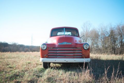 Red 1950 Chevy 3100 pickup truck for sale